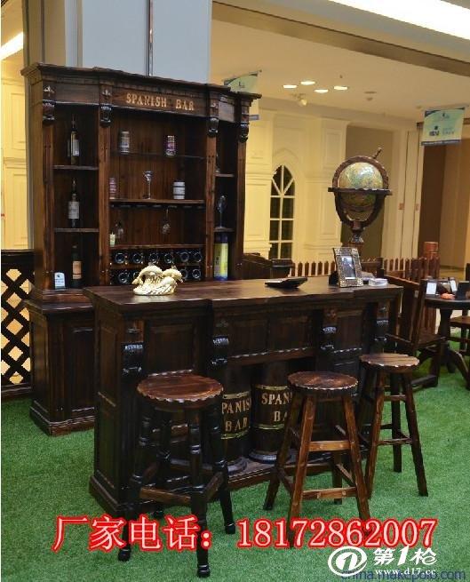 实木吧台酒柜欧式吧台酒柜定做,酒店红酒柜收银台定做