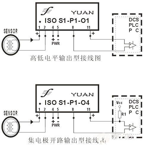 iso s-p-o正弦波隔离变送器典型应用接线图 iso em 系列信号放大器