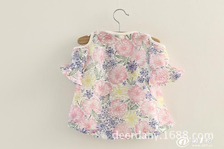 夏款 外贸童装 韩版喇叭袖女童雪纺娃娃裙衫 儿童短袖