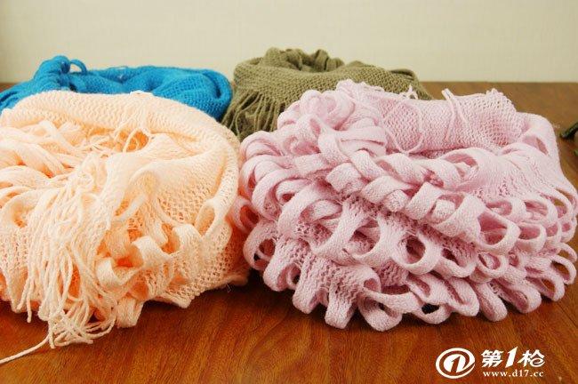 秋冬保暖大格子针织围巾围脖 儿童羊绒韩国新款义乌围巾批发厂家