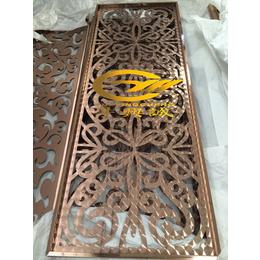 来图定制不锈钢精品雪拉丝玫瑰金镂空花格屏风