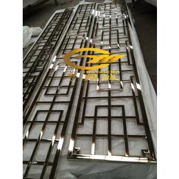 粤兴诚长期供应不锈钢精品8K黑钛玫瑰金封釉镂空花格屏风