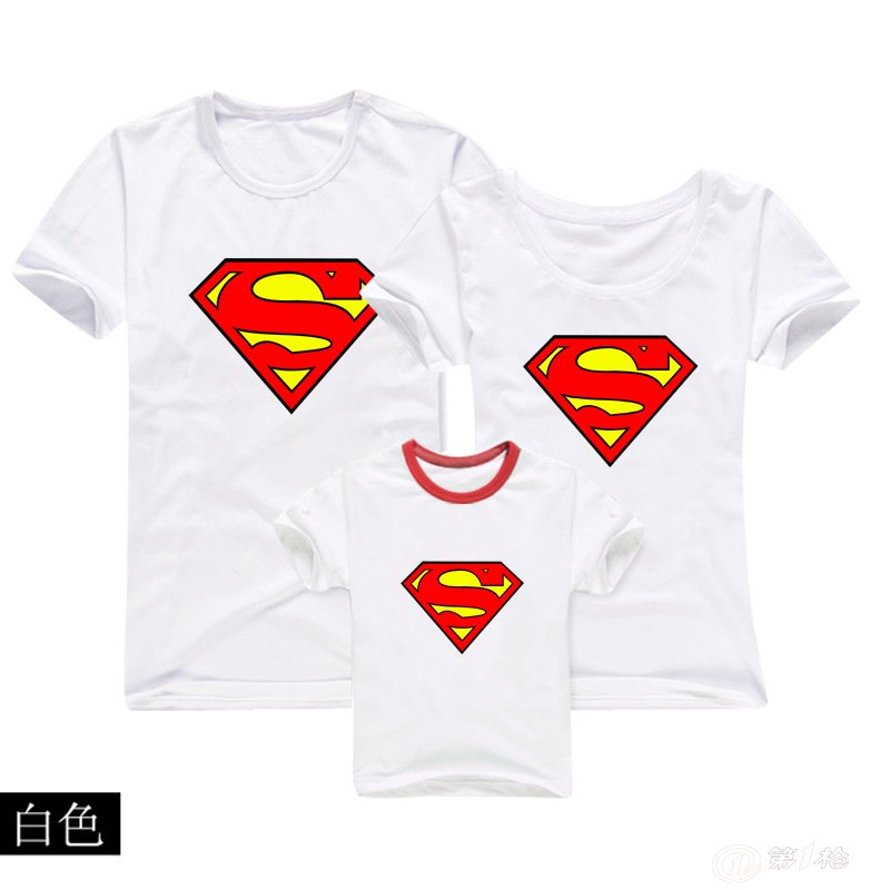亲子装批发 品牌亲子装 亲子运动装 t恤超人图案
