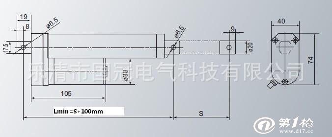 电压:dc12v/dc24v/dc36v/d8v 永磁直流电动推杆 标准行程:100 150 200