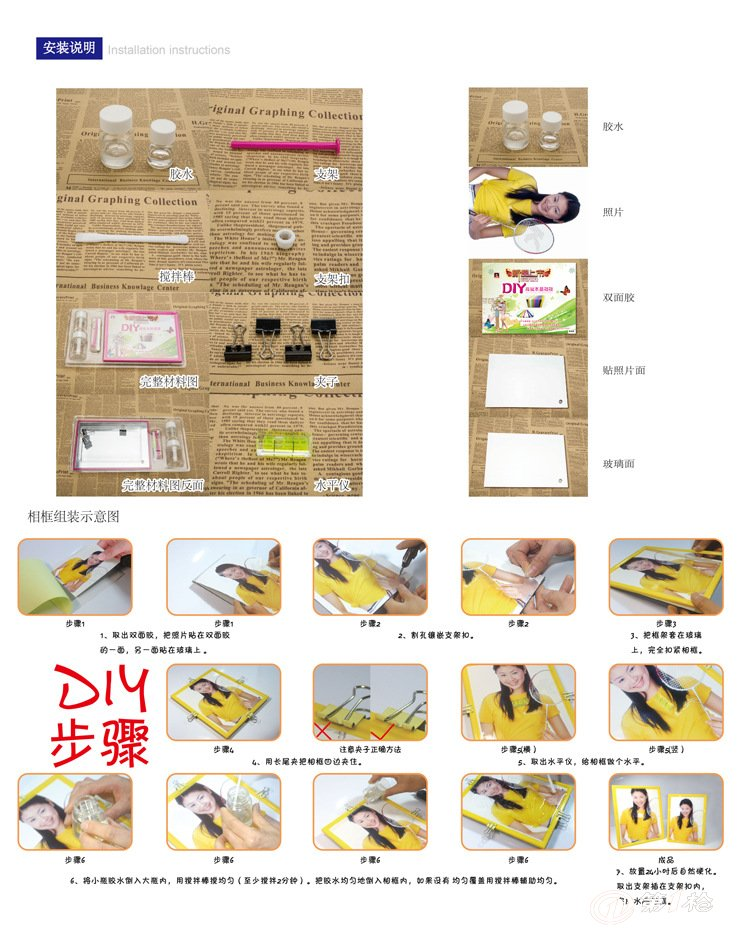 如下图步骤4和5(目的是让胶水能更平稳的流在相框上,使整体更加美观)