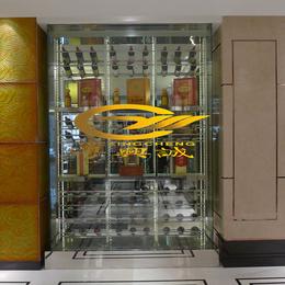上海酒店别墅酒吧精品不锈钢恒温恒湿玫瑰金酒柜定制