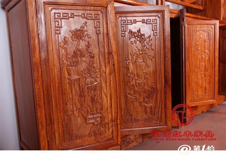 红木家具厂 客厅餐厅红木雕花福字隔断柜 中式间厅柜