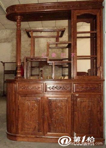 红木古典家具 非洲黄花梨 花梨木隔厅柜 玄关柜 红木酒柜