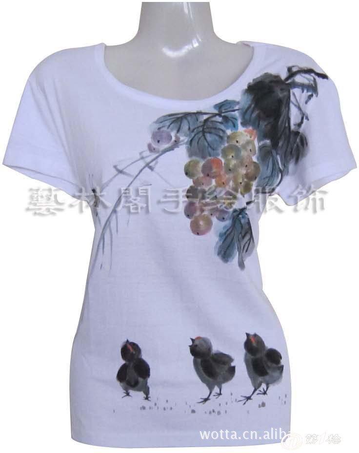 供应2012新款韩版全棉手绘t恤 复古 中国风 女式短袖t恤