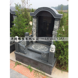 山西黑花岗岩墓碑 抛光异性墓碑