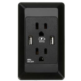 厂家直销智能美标开关插座白色黑色带双USB****多功能环保插座