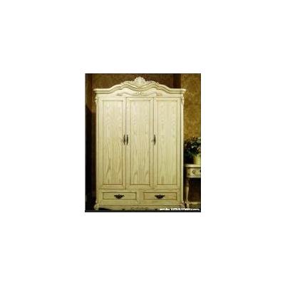 欧娜百合 奢华 白色 欧式实木家具 影楼家具 衣帽间 3门柜