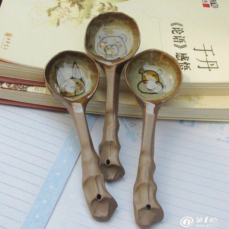 陶艺手工勺子 日用手制 复古 日式 zakka风格 手绘 货源