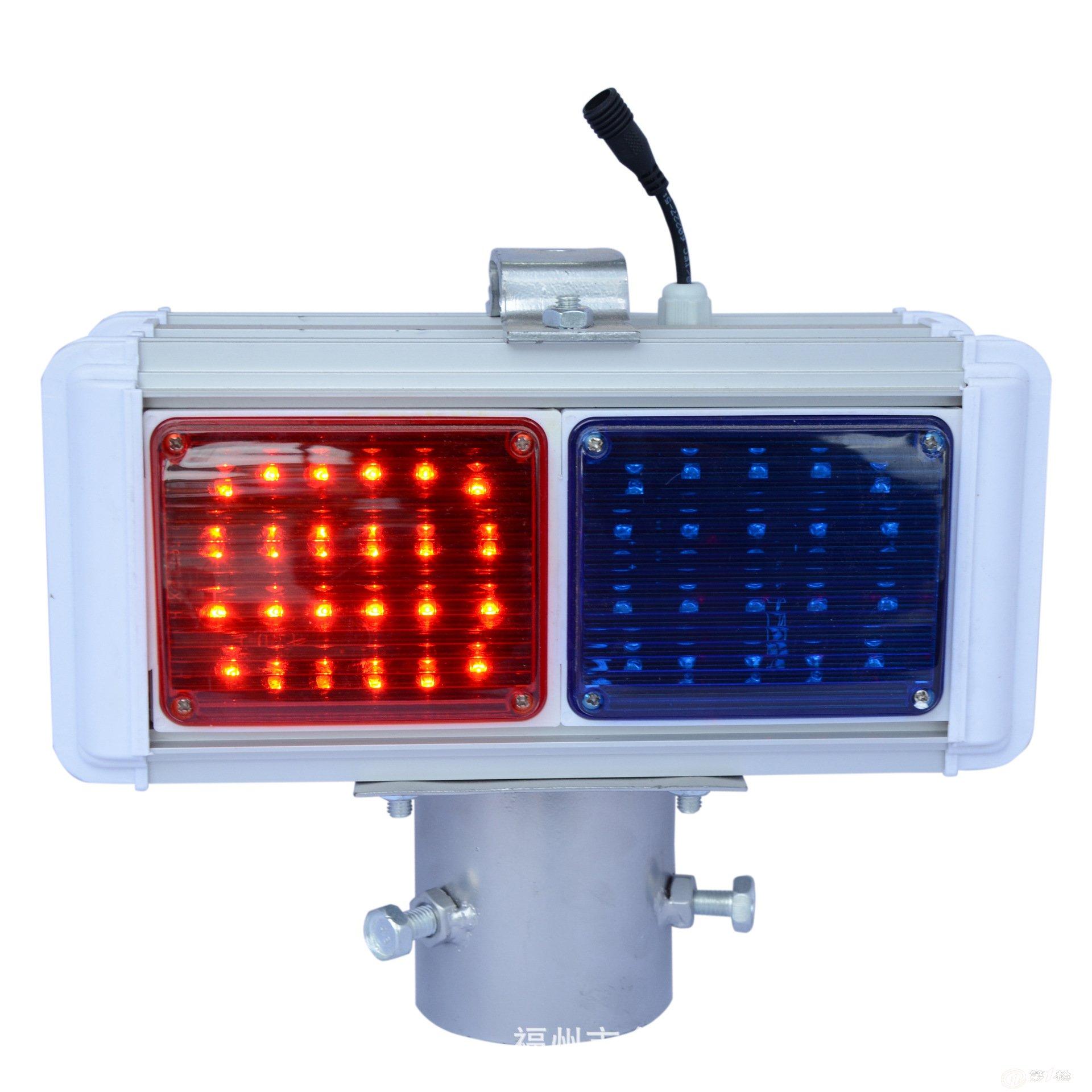 锦顺交通 太阳能红蓝爆闪灯警示灯 led左右交通爆闪灯