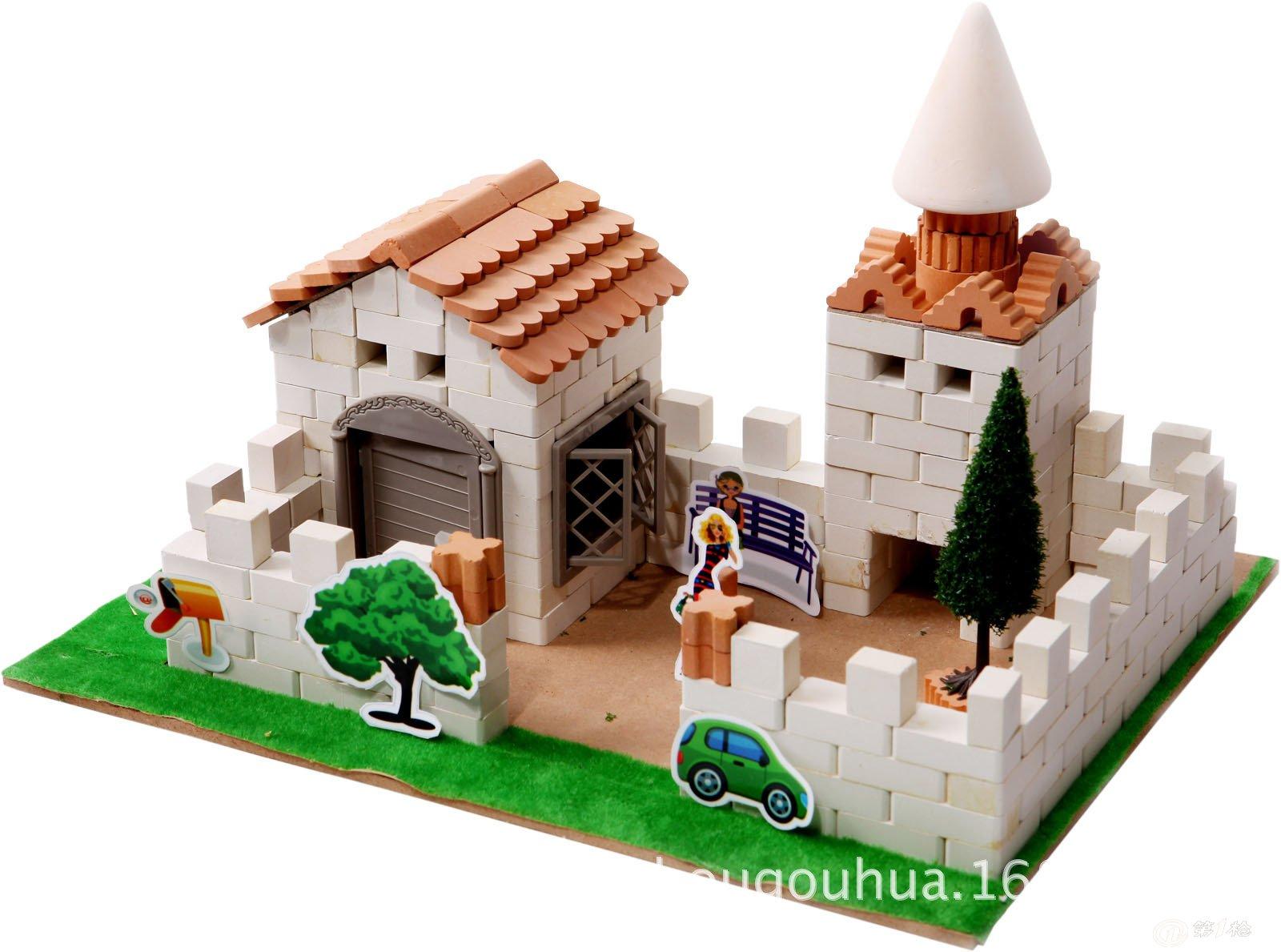 陶瓷积木 儿童益智玩具 5合1豪华别墅 diy建筑模型玩具 亲子玩具