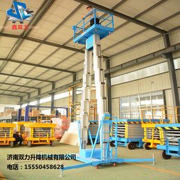 济南双力铝合金移动式升降平台双杆12米厂家直销