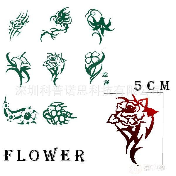 玫瑰花纹身贴 虎口纹身贴纸 防水纹身贴纸五角星星纹身贴