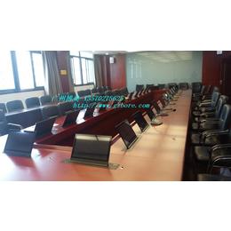 供应沈阳实木长方形培训室显示器升降会议桌