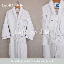 莱棉酒店用品 白色割绒青果领浴袍 纯棉外贸浴袍 可定制