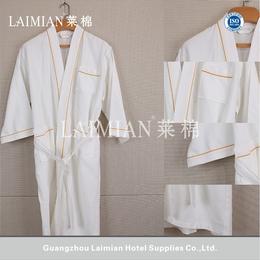 厂家直销酒店布草 酒店公寓纯棉和服领华夫格浴袍 颜色可定制