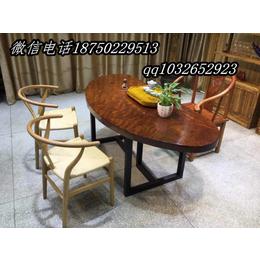 巴花实木红木原木大板半圆茶桌餐桌课桌办公桌