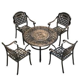 户外烧烤桌子 田园家具 铸铝室外花园桌椅组合 绿森源户外
