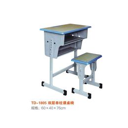 江西 单人双层单柱课桌椅学生学校课桌 厂家直销缩略图