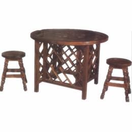 江西防腐木桌椅户外方格圆桌