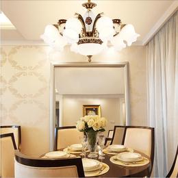 欧式吊灯客厅灯水晶灯美式锌合金复式楼简欧吊灯