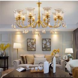 美式吊灯全铜水晶客厅吊灯现代简约餐厅灯欧式卧室灯具