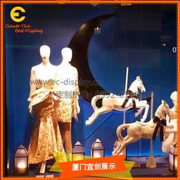 小马橱窗陈列道具订制 玻璃钢旋转小白马橱窗展示道具制作缩略图