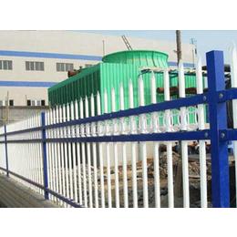 网艺锌钢护栏B型白蓝两色组装园艺三横杆护栏