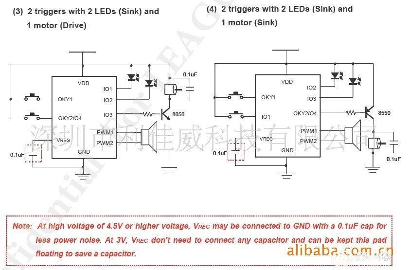 购买需知:起订量1000PCS,量大可优惠。提供代烧录,每个0.05元。 1.特点: 1).宽广的工作电压:1.6V ~ 6.4V。 2).只能做语音,没有谱曲功能。COMS语音合成。 3).多种输入方式选择: 单按键输入;Matrix按键输入;震荡开关输入;磁控开关输入;光敏方法输入。 4).多种输出方式选择: 直推SPEAKER; 直推风鸣片;直推LED;加三极管推马达。 5).