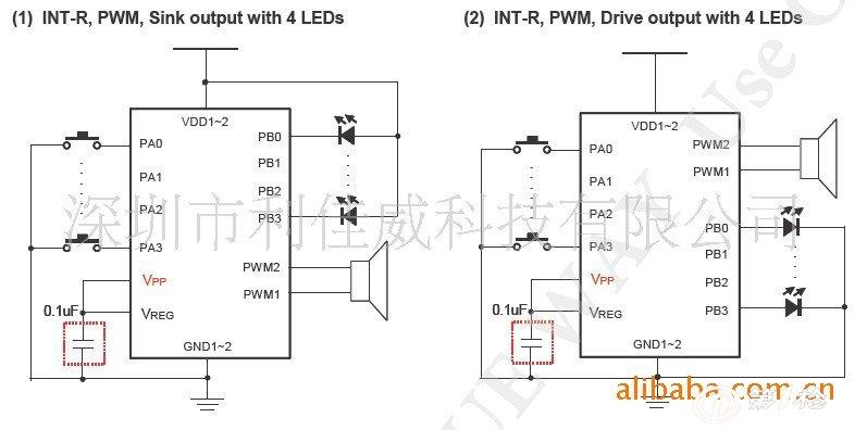 lir红外线输出 l9-bit pwm纯硬件输出,可以直接驱动喇叭或蜂鸣片.