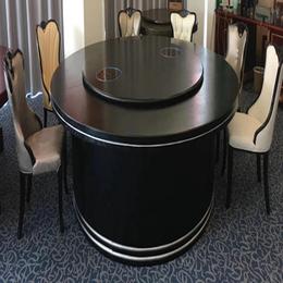 中式黑色酒店宴會電動餐桌椅