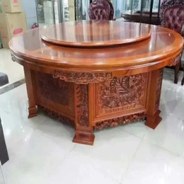酒店宴会电动实木餐桌椅