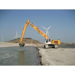 挖掘机挖河道清理淤泥加长臂二段加长臂