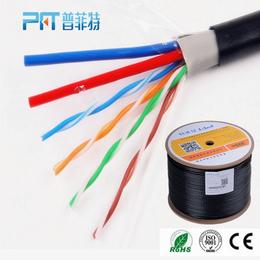 厂家供应室外纯铜网线1.0无氧铜监控一体线 高清网络综合线