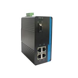 广州汉信-千兆1光4电工业级光纤收发器