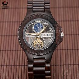 厂家直销 新款黑檀木质全自动机械手表镂空男士高档防水定制批发