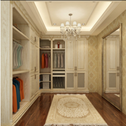 木衣柜L型步入式整体衣帽间