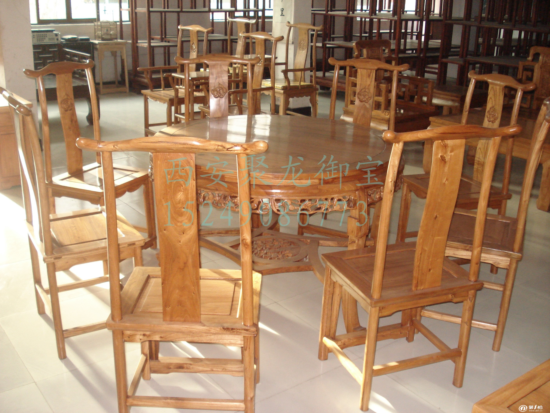 西安实木餐桌椅价格-老榆木餐桌尺寸-红木餐桌报价图片