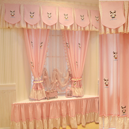 韩式田园卡通儿童窗帘女孩卧室粉色飘窗
