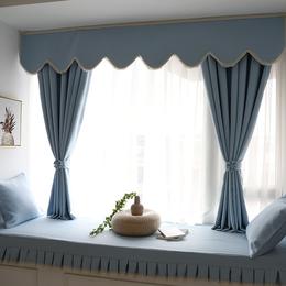 简约现代窗帘成品全遮光卧室阳台平面窗落地窗
