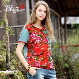 夏装新款印花体恤上衣大码宽松花色显瘦t恤女短袖