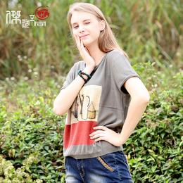 夏季新款印花女式短袖t恤大码短款上衣宽松套头打底衫