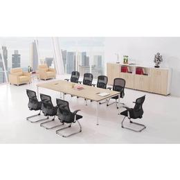 现代公司十人会议室长形胶版会议台会议桌椅