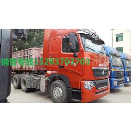 南宁柳州二手重汽拖头13米直板栏杆车二拖三