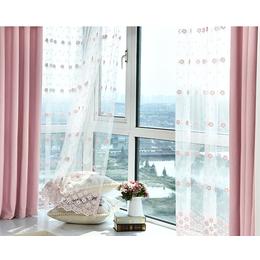 粉色飘窗成品纯色遮光窗帘