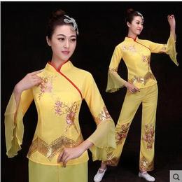 民族舞蹈服装女中老年扇子舞演出服2017新款秧歌服广场舞套装